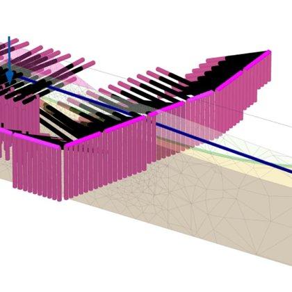 Kotvená pilotová zeď - Plaxis 3D