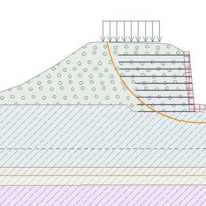 GEO5 - návrh a posouzení vyztuženého zemního tělesa